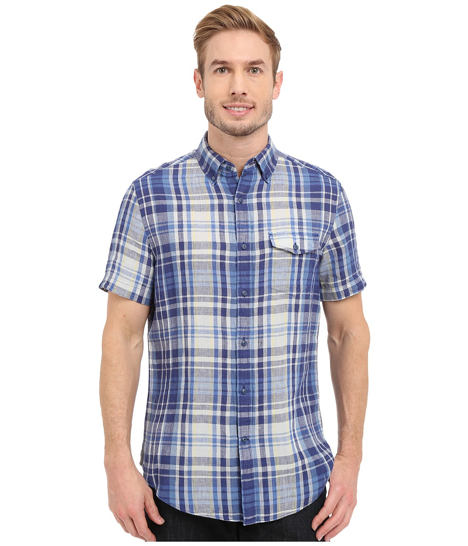 Nautica Short Sleeve Blue Plaid with Pocket Blue Print Mens Short Sleeve Button Up