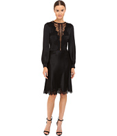 Alberta Ferretti - Long Sleeve Sheer Lace Neckline Dress