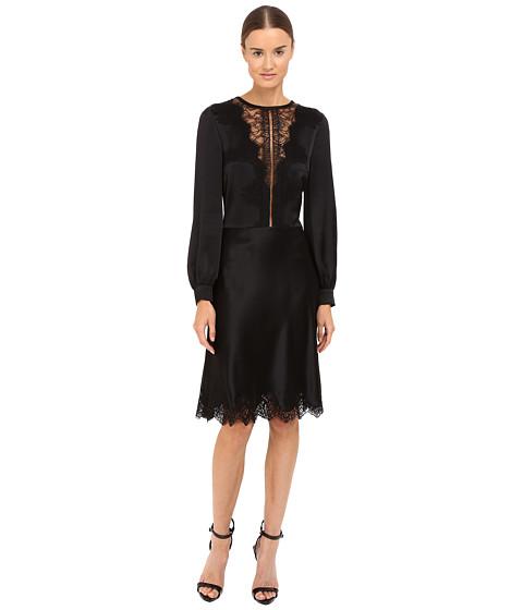 Alberta Ferretti Long Sleeve Sheer Lace Neckline Dress