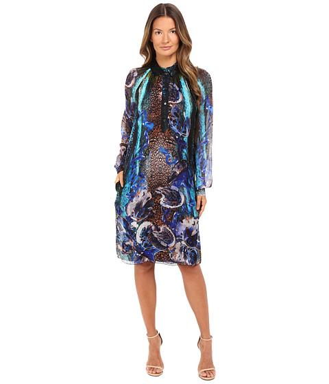 Alberta Ferretti Long Sleeve Sheer Floral Dress