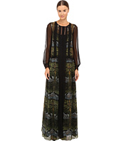 Alberta Ferretti - Long Sleeve Sheer Overlay Printed Maxi Dress