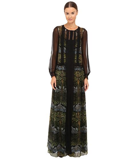 Alberta Ferretti Long Sleeve Sheer Overlay Printed Maxi Dress