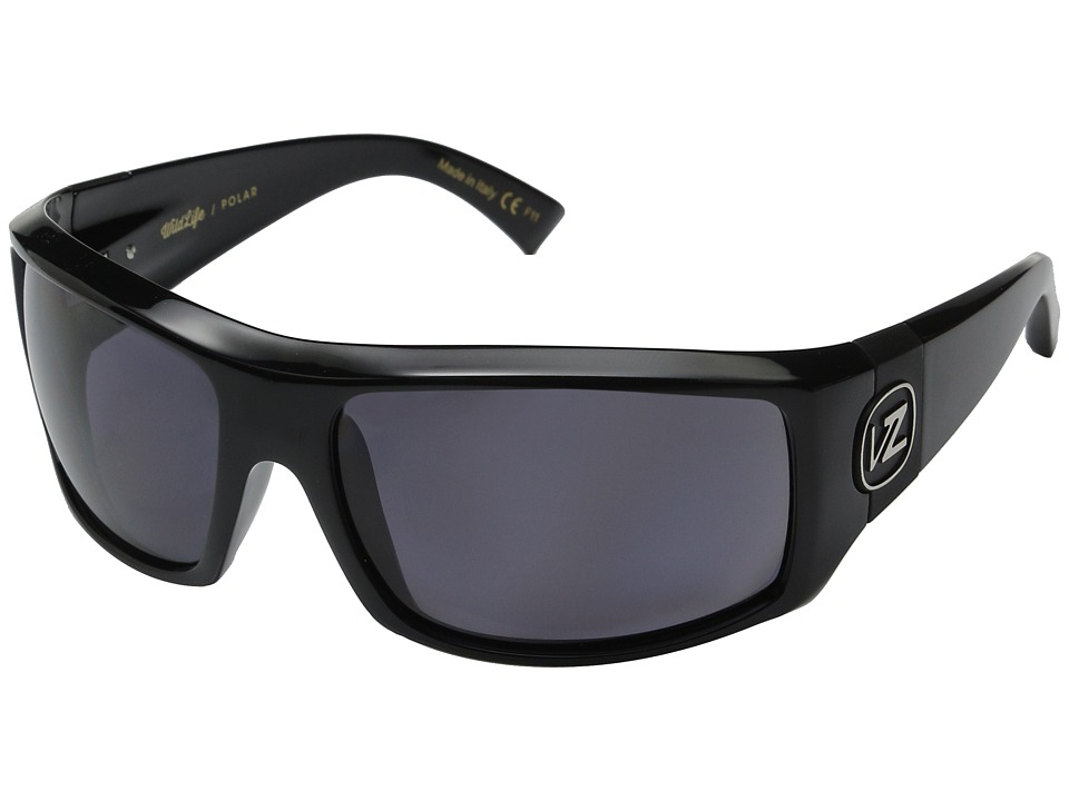 VonZipper - Clutch Polarized (Black Gloss/Vintage Grey Wildlife Polarized Lens) Fashion Sunglasses