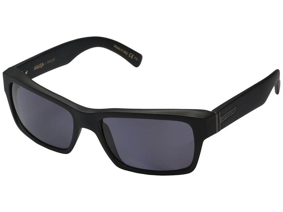 VonZipper - Fulton Polarized (Black Smoke Satin/Vintage Grey Wildlife Polarized Lens) Sport Sunglasses