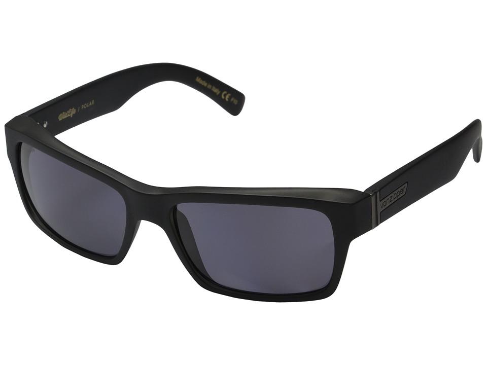 VonZipper Fulton Polarized Black Smoke Satin/Vintage Grey Wildlife Polarized Lens Sport Sunglasses