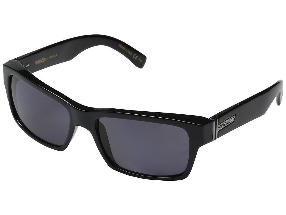 VonZipper Fulton Polarized (Black Gloss/Vintage Grey Wildlife Polarized Lens) Sport Sunglasses