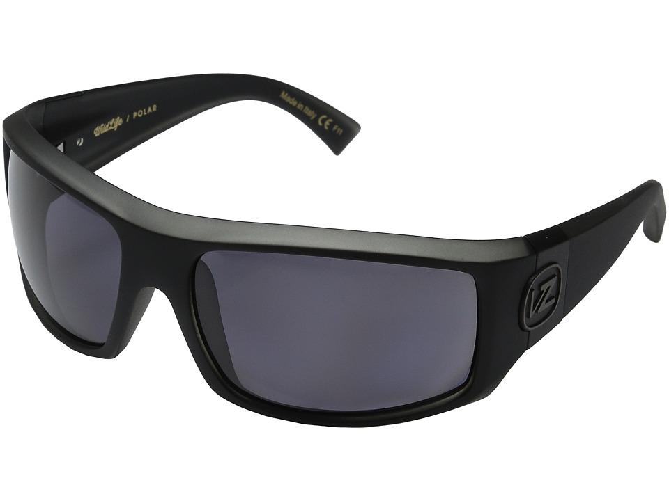 VonZipper Clutch Polarized (Black Smoke Satin/Vintage Grey Wildlife Polarized Lens) Fashion Sunglasses