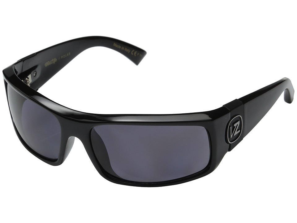 VonZipper - Kickstand Polarized (Black Gloss/Vintage Grey Wildlife Polarized Lens) Sport Sunglasses