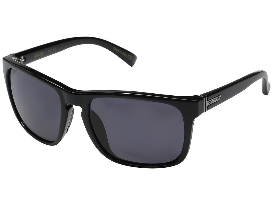 VonZipper - Lomax Polarized (Black Gloss/Vintage Grey Wildlife Polarized Lens) Plastic Frame Sport Sunglasses