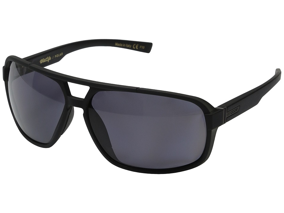 VonZipper Decco Polarized Black Smoke Satin/Vintage Grey Wildlife Polarized Lens Sport Sunglasses