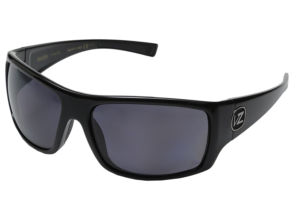 VonZipper - Suplex Polarized (Black Gloss/Vintage Grey Wildlife Polarized Lens) Plastic Frame Sport Sunglasses