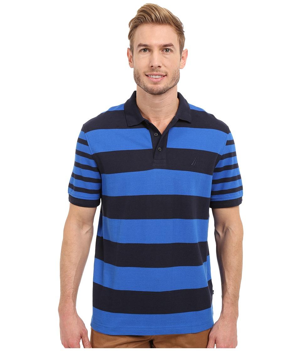 Nautica Short Sleeve Bold Multi Stripe Sea Cobalt Mens Clothing