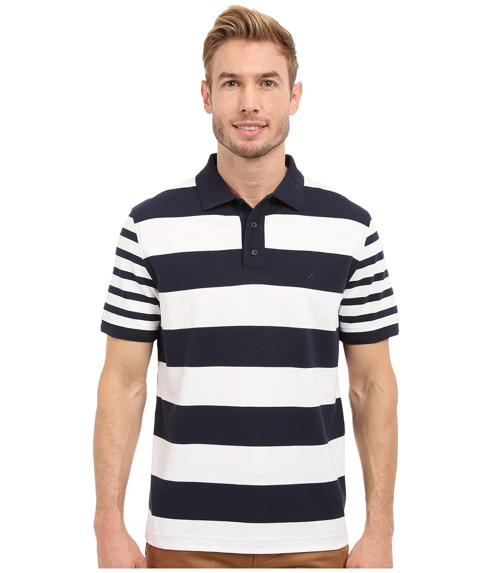 Nautica Short Sleeve Bold Multi Stripe Navy Mens Clothing