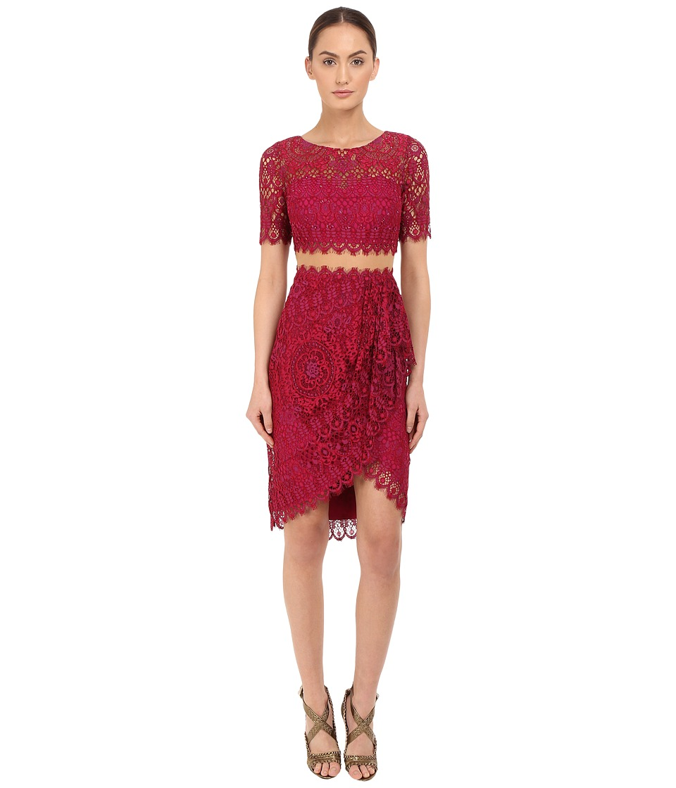 Marchesa Notte Short Sleeve Re Embroidered Lace Cocktail with Draped Skirt and Sheer Waist Magenta Womens Dress