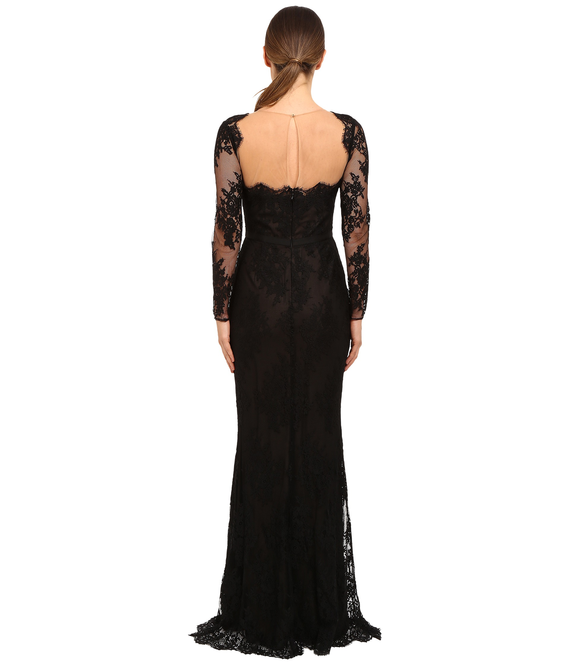 Marchesa Notte Long Sleeve Lace Gown with Illusion
