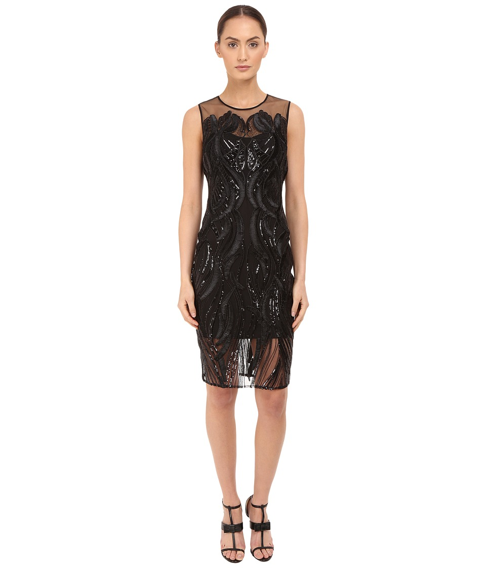 Marchesa Notte Sleeveless Cocktail with Sequin and Ribbon Embroidery Black Womens Dress