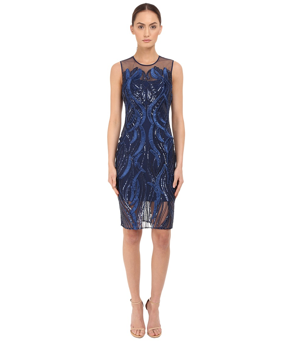 Marchesa Notte Sleeveless Cocktail with Sequin and Ribbon Embroidery Navy Womens Dress
