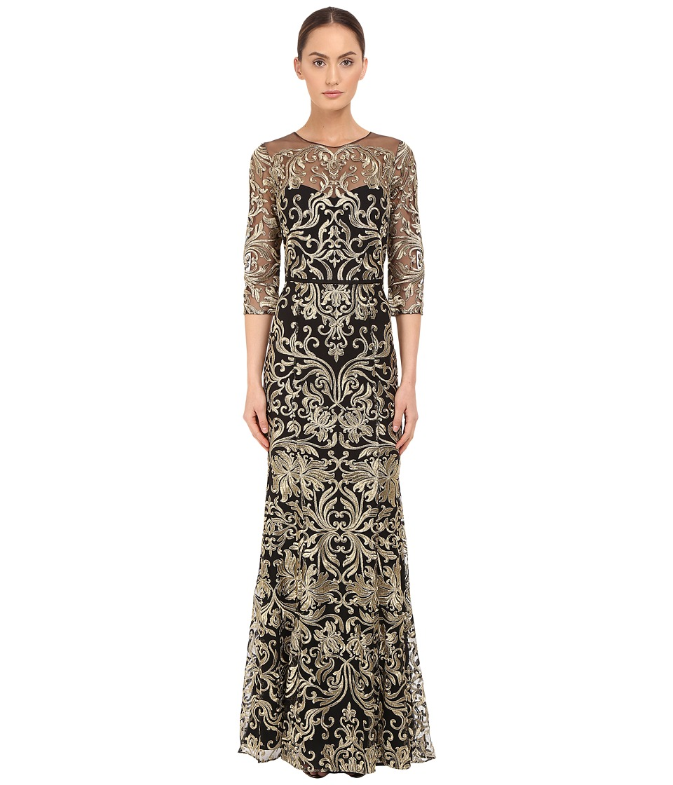 Marchesa Notte Fully Embroidered Gown with Long Sleeves and High Neckline Black Womens Dress