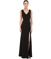 Marchesa Notte - Sleeveless Crepe Gown with Slit and Illusion Re-Embroidered Lace Cut Outs
