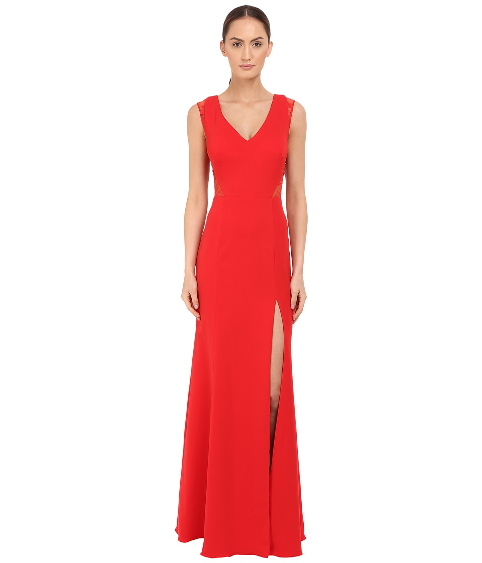Marchesa Notte Sleeveless Crepe Gown with Slit and Illusion Re Embroidered Lace Cut Outs Red Womens Dress