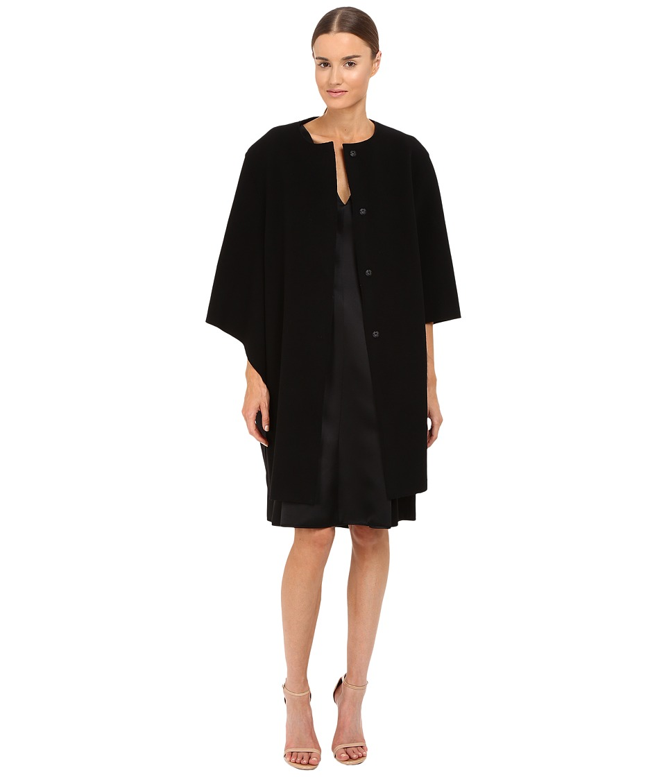 Image of Alberta Ferretti - Dolman Sleeve Open Front Jacket (Black) Women's Coat