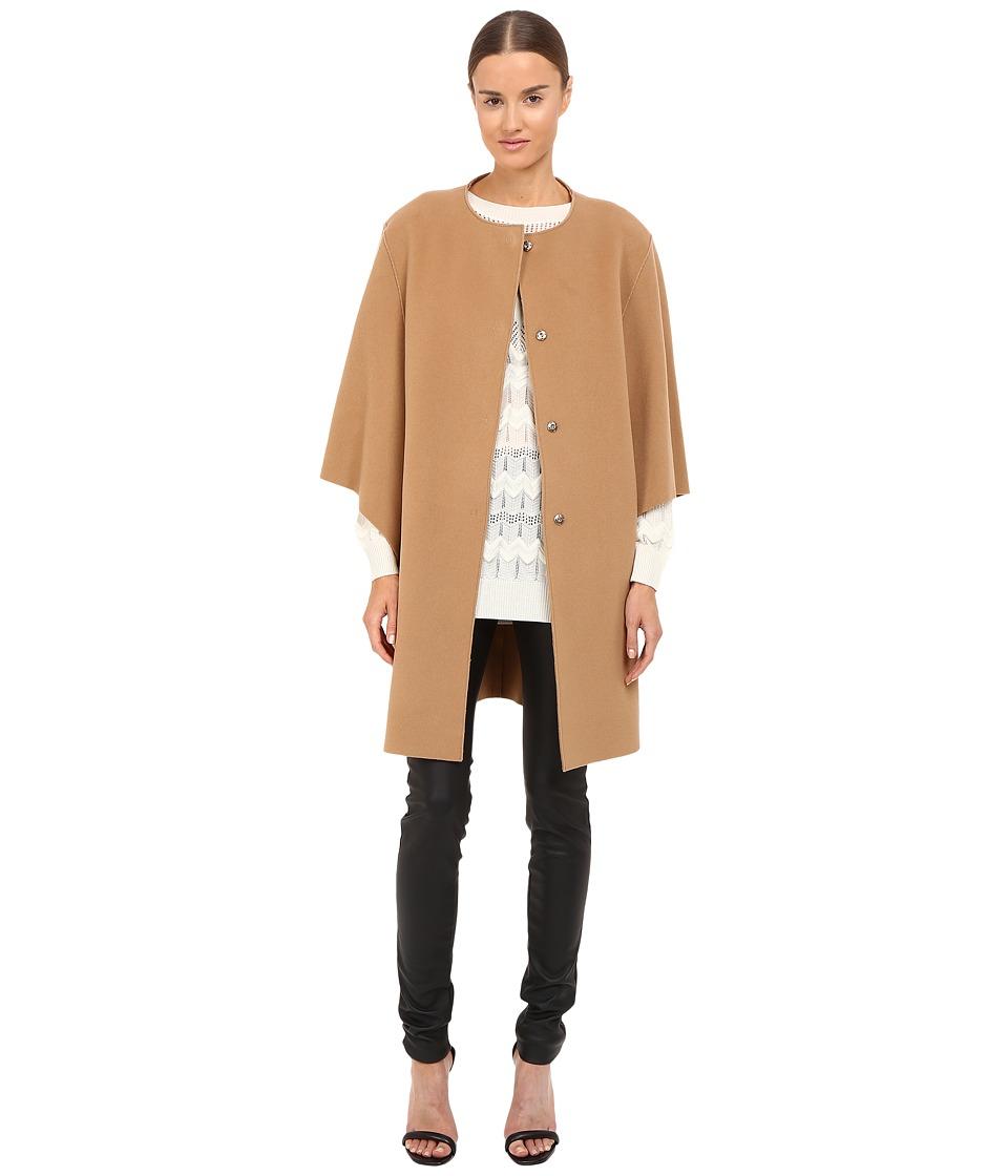 Image of Alberta Ferretti - Dolman Sleeve Open Front Jacket (Camel) Women's Coat