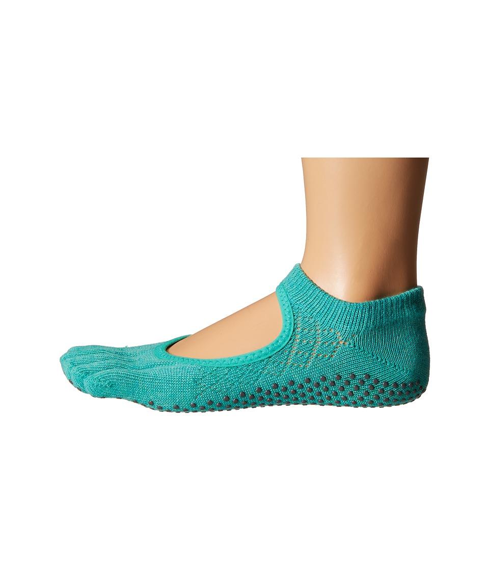 toesox Bella Full Toe w/ Grip Fishnet Lagoon Womens No Show Socks Shoes