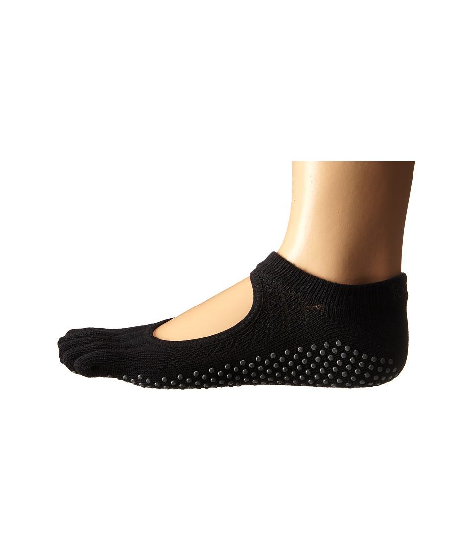 toesox Bella Full Toe w/ Grip Fishnet Black Womens No Show Socks Shoes
