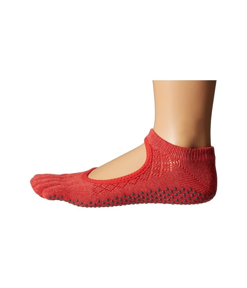 toesox Bella Full Toe w/ Grip Fishnet Poppy Womens No Show Socks Shoes