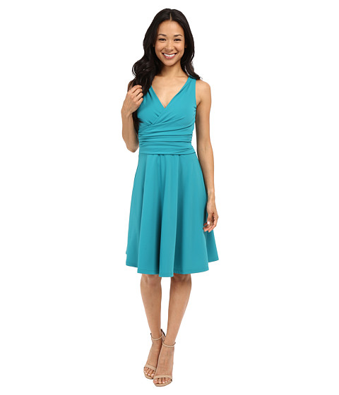 Adrianna Papell Solid Techno Knit Swing Dress