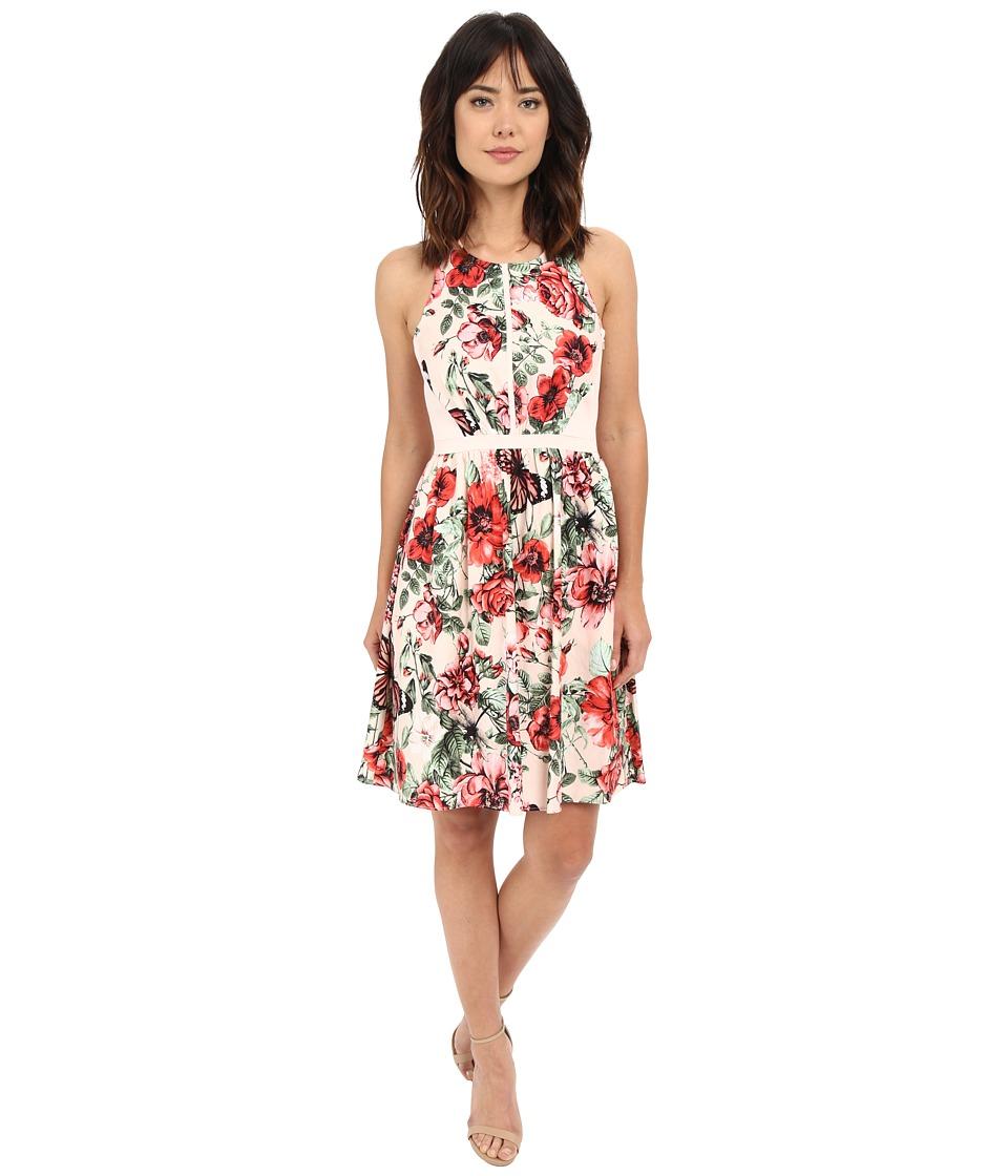 Adrianna Papell Flower Print Sleeveless Crossback Dress Pink Multi Womens Dress