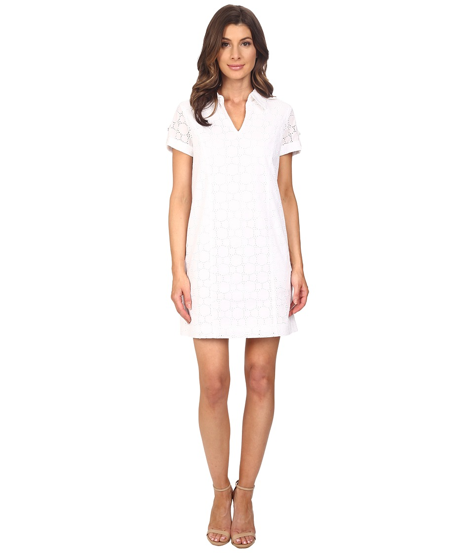 Adrianna Papell Capri Eyelet Shirtdress White Womens Dress