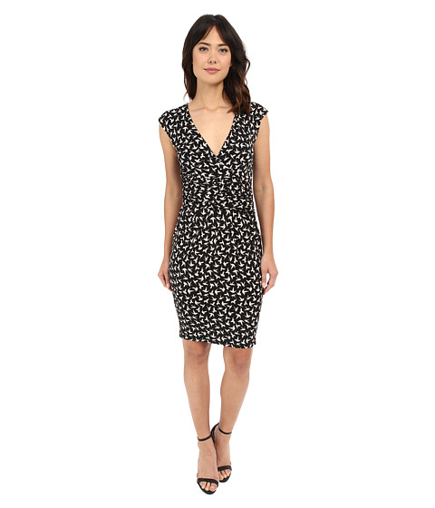 Adrianna Papell Print Extended Shoulder Bird Jersey Dress