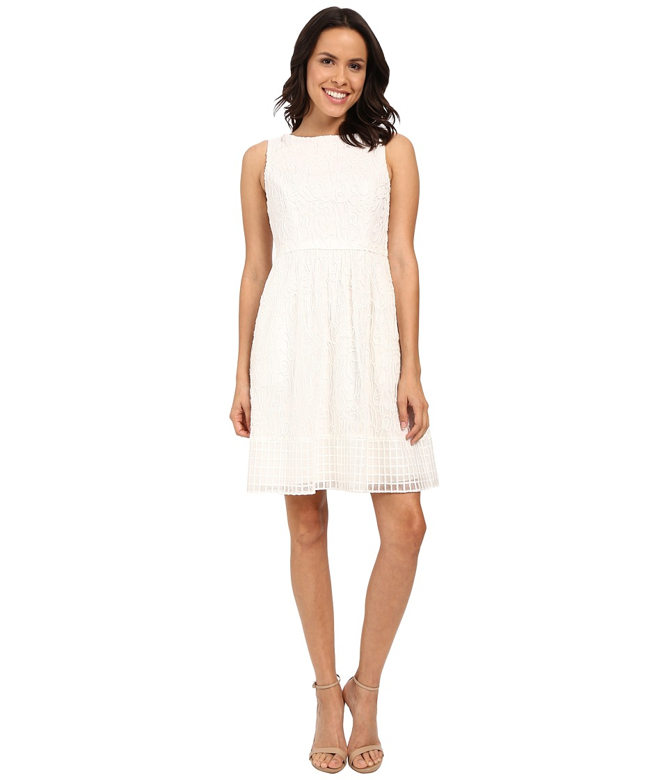 Adrianna Papell Embroidered Soutache Fit Flare Dress w/ Grid Hem Ivory Womens Dress