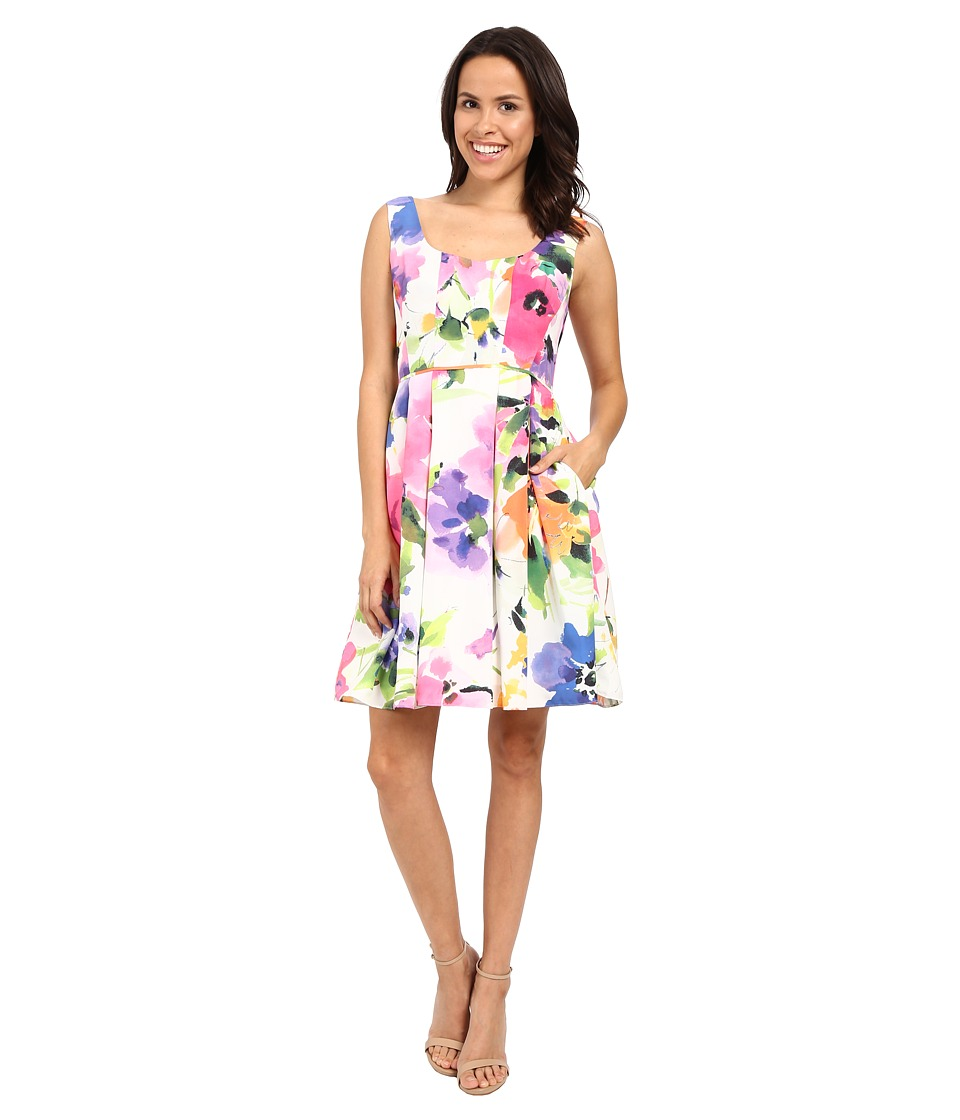 Adrianna Papell Fit Flare Floral w/ Pleated Skirt Dress Ivory/Multi Womens Dress