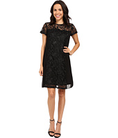 Adrianna Papell - Lace Shift Dress w/ Pleated Side Panels