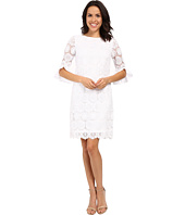 Adrianna Papell - Bateau Neck Dress w/ Flounce Elbow Sleeve