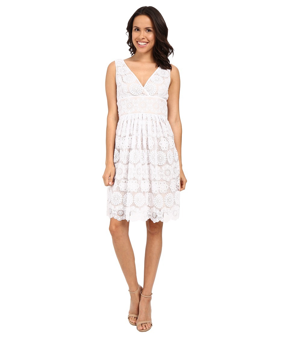 Adrianna Papell Deep V Neck Fit Flare Medallion Lace Dress White Womens Dress