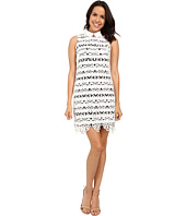 Adrianna Papell - Collared Lace Shift Dress w/ Striped Lining