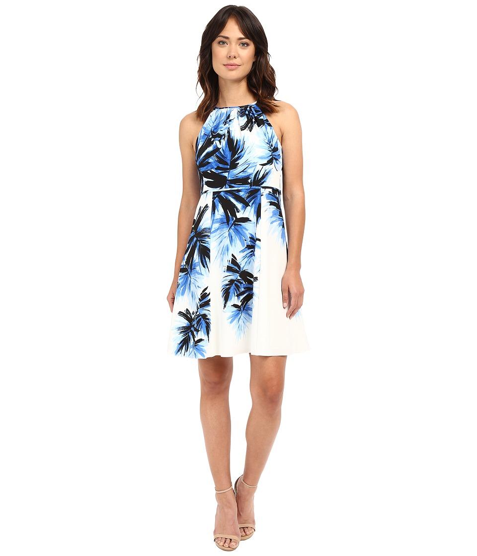 Adrianna Papell Halter Neck Fit Flare Palm Print Dress Blue/Multi Womens Dress