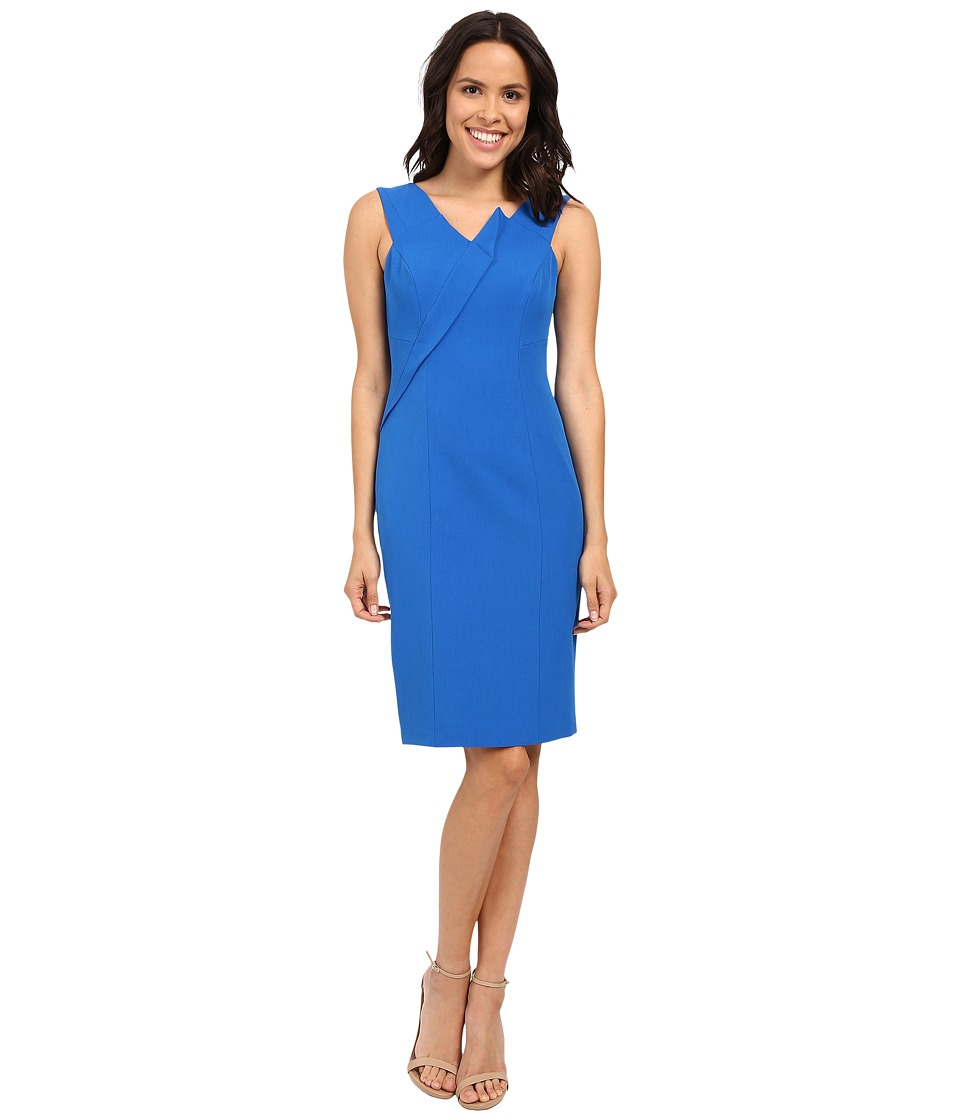 Adrianna Papell Asymmetrical Structured Drape Dress Yves Blue Womens Dress