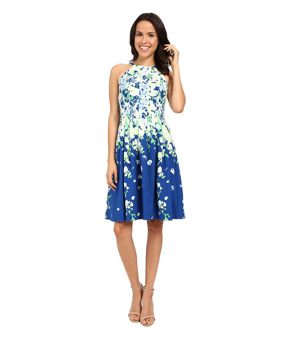 Adrianna Papell Garden Party Placed Floral Print Dress Blue/Multi Womens Dress