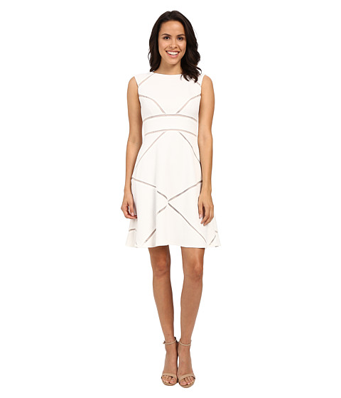 Adrianna Papell Scoop Neck Sleeveless Dress w/ Illusion