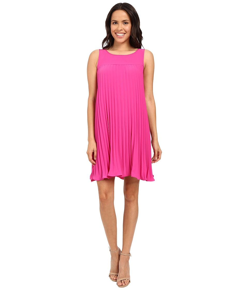 Adrianna Papell Flyaway Pleated Shift Dress Hot Pink Womens Dress