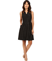 Adrianna Papell - Split Neck Fit & Flare w/ Pleated Skirt Dress