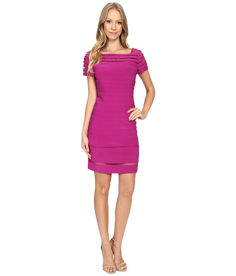 Adrianna Papell Bateau Neck Dress w/ Gradiating Seams