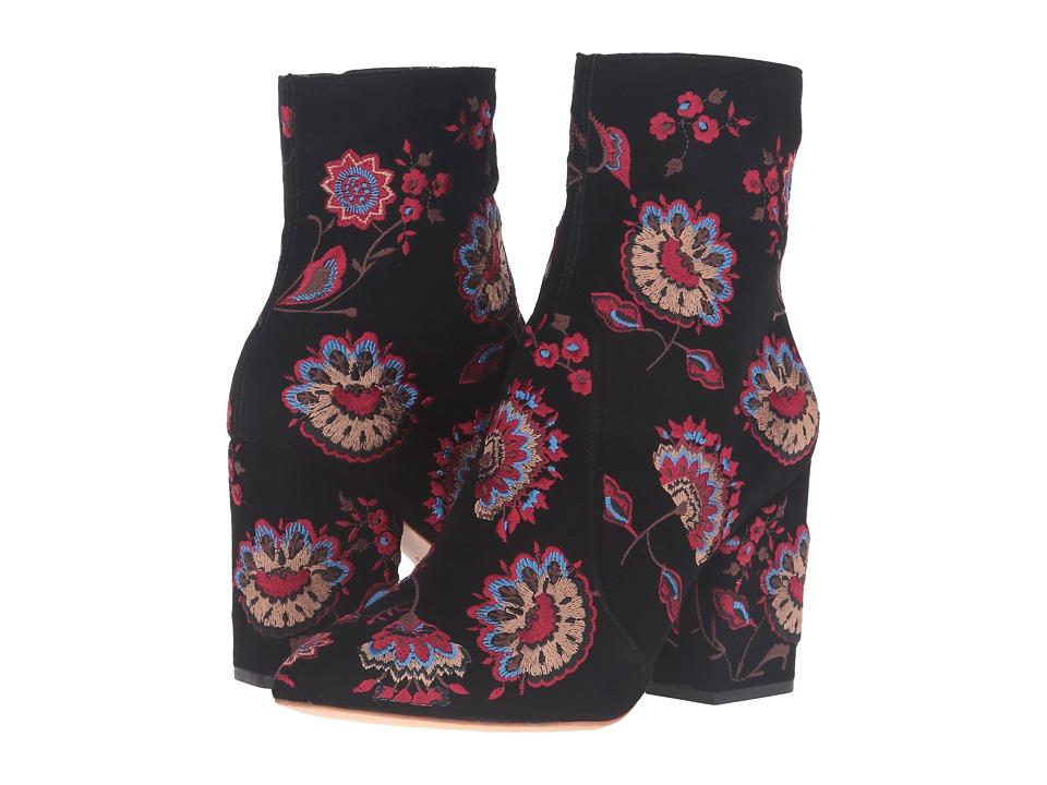 Loeffler Randall - Isla (Black Floral Embroidered Suede) Women