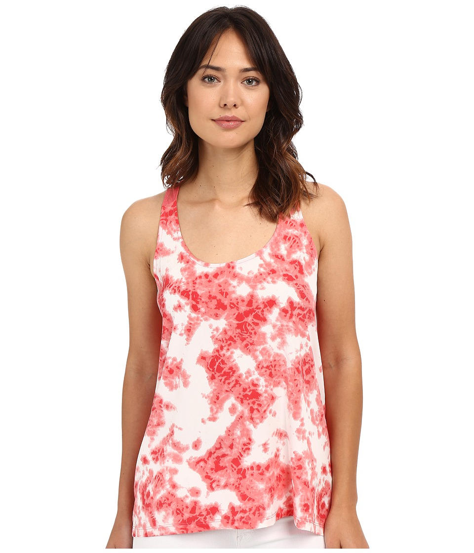 Calvin Klein Jeans Printed Mixed Media Tank Top Sunkist Coral Womens Sleeveless