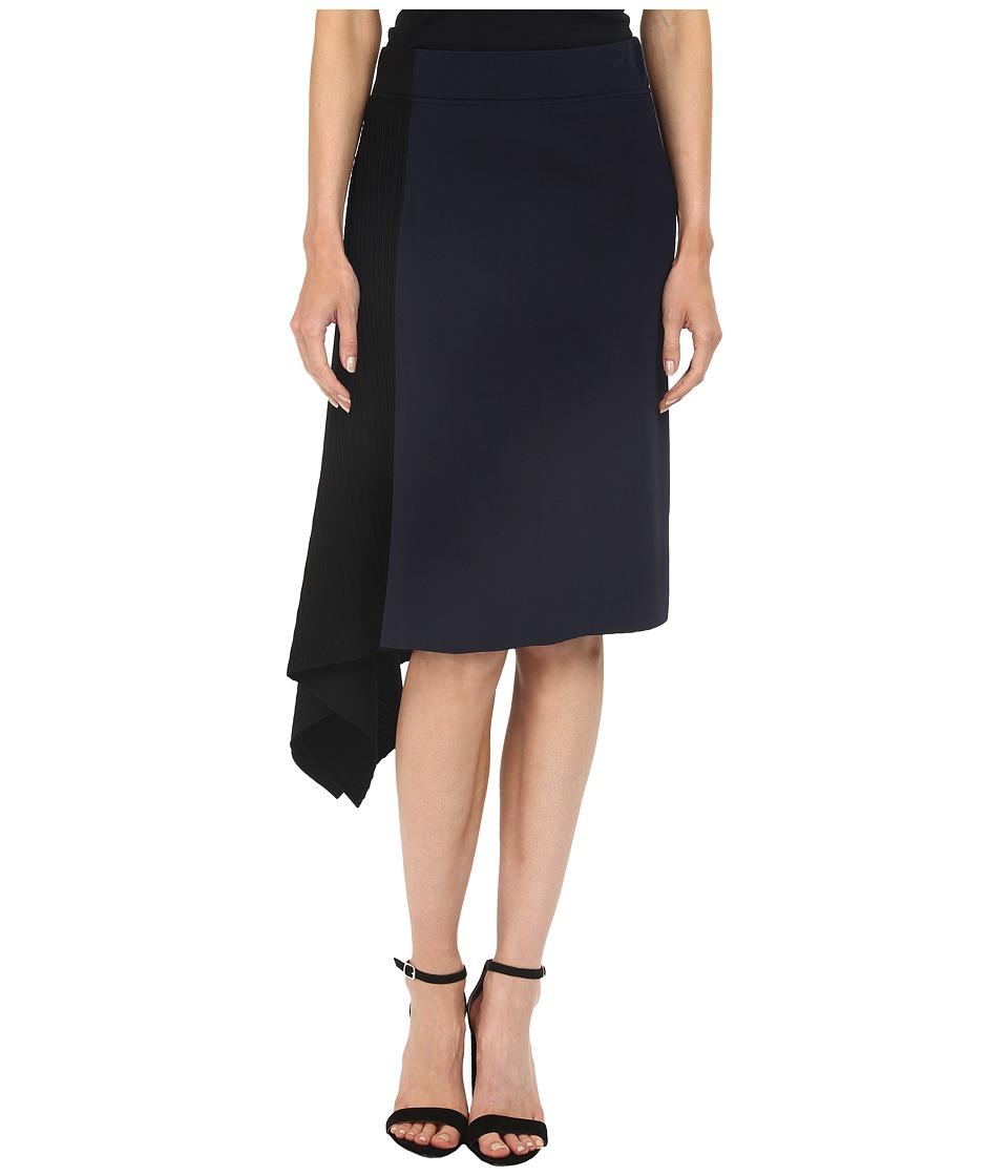 Neil Barrett Mixed Yarns Technical Bicolour Skirt Navy Blue Womens Skirt