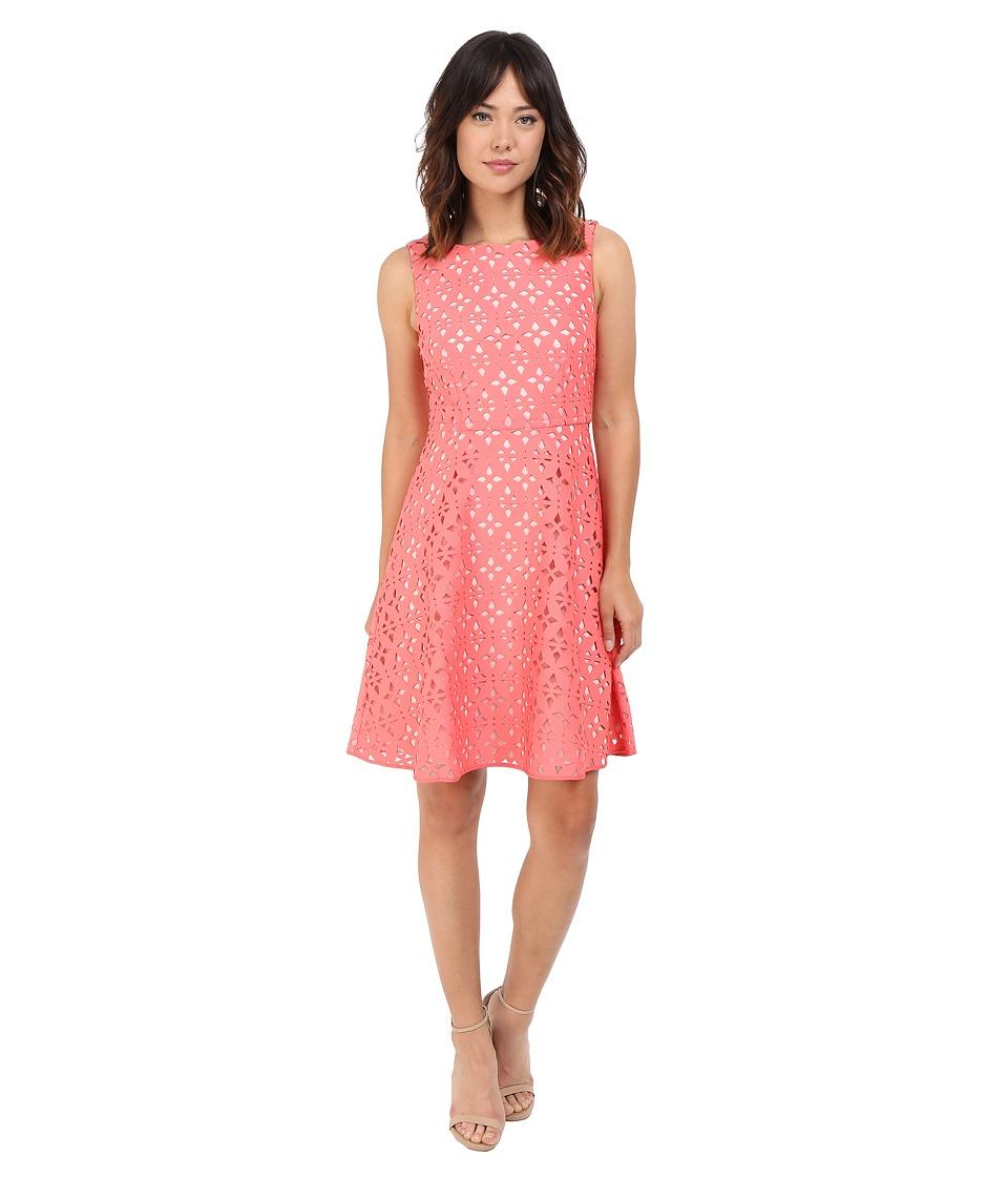 Adrianna Papell Extended Shoulder Fit Flare Laser Cut Scuba Dress Light Coral/Petal Womens Dress
